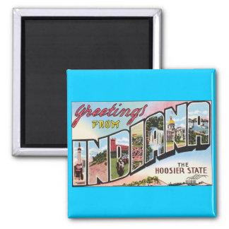 Indiana -Vintage Postacard Design 2 Inch Square Magnet