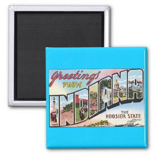 Indiana -Vintage Postacard Design Refrigerator Magnet