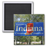 Indiana Welcome Sign 2 Inch Square Magnet