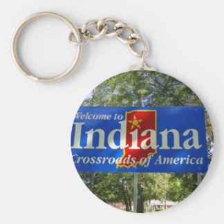 Indiana Welcome Sign Basic Round Button Keychain