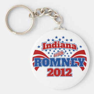 Indiana with Romney 2012 Basic Round Button Keychain