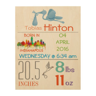INDIANAPOLIS - BABY BOY ARRIVAL ANNOUNCEMENT WOOD WALL DECOR