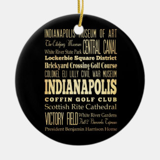 Indianapolis City of Indiana State Typography Art Double-Sided Ceramic Round Christmas Ornament