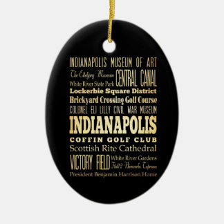 Indianapolis City of Indiana State Typography Art Double-Sided Oval Ceramic Christmas Ornament
