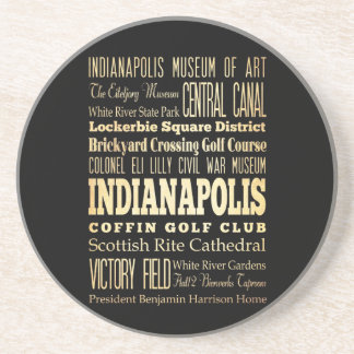 Indianapolis City of Indiana State Typography Art Drink Coaster