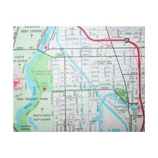 Indianapolis, EN la impresión del mapa del vintage Lienzo Envuelto Para Galerias