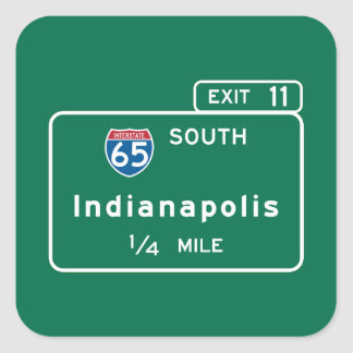 Indianapolis, EN señal de tráfico Pegatina Cuadrada