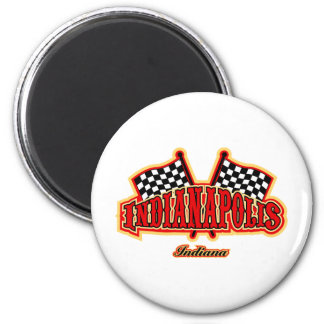 Indianapolis Flagged 2 Inch Round Magnet