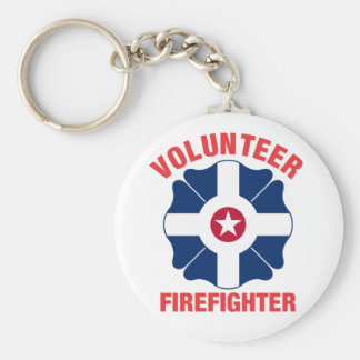 Indianapolis, IN Flag Volunteer Firefighter Cross Basic Round Button Keychain