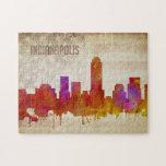 "Indianapolis, IN | Watercolor City Skyline Jigsaw Puzzle<br><div class=""desc"">A neon watercolor outline of the Indianapolis city skyline with a distressed American flag backdrop.</div>"
