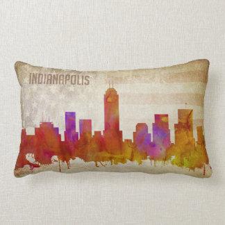 Indianapolis, IN   Watercolor City Skyline Lumbar Pillow