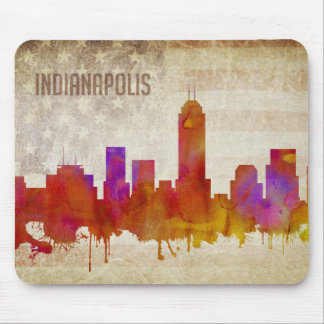 Indianapolis, IN | Watercolor City Skyline Mouse Pad