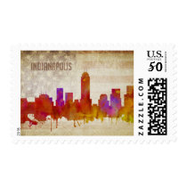 Indianapolis, IN | Watercolor City Skyline Postage