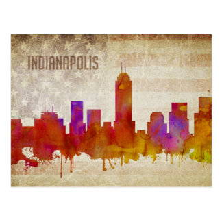Indianapolis, IN | Watercolor City Skyline Postcard