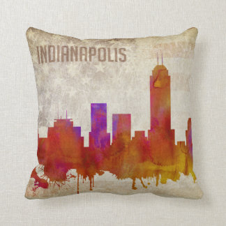 Indianapolis, IN | Watercolor City Skyline Throw Pillow