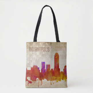 Indianapolis, IN | Watercolor City Skyline Tote Bag