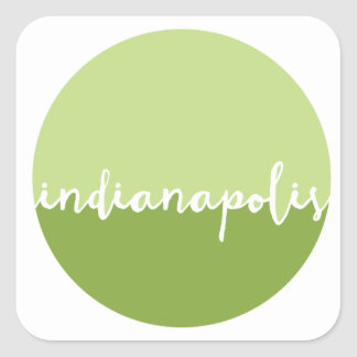 Indianapolis, Indiana | Green Ombre Circle Square Sticker