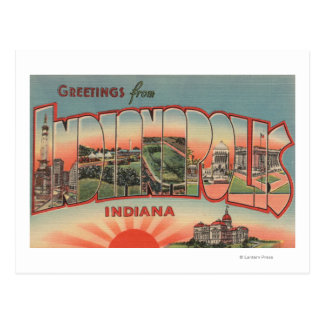 Indianapolis, Indiana - Large Letter Scenes 2 Postcard