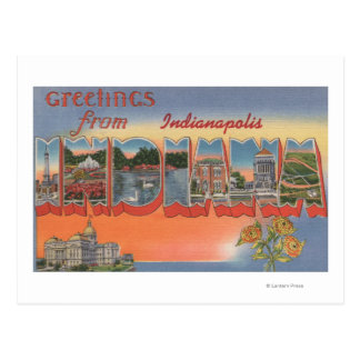 Indianapolis, Indiana - Large Letter Scenes 4 Postcard