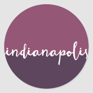 Indianapolis, Indiana | Purple Ombre Circle Classic Round Sticker