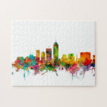 "Indianapolis Indiana Skyline Jigsaw Puzzle<br><div class=""desc"">Watercolor art print of the skyline of Indianapolis,  Indiana,  United States</div>"
