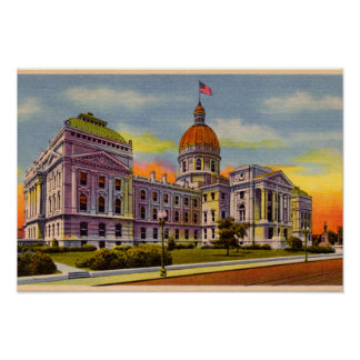 Indianapolis, Indiana State House circa 1930 Print