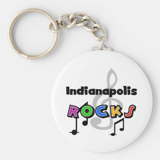 Indianapolis Rocks Basic Round Button Keychain