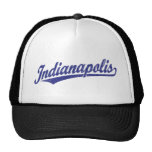 Indianapolis script logo in blue distressed trucker hat