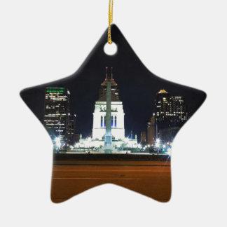 Indianapolis Skyline at Night Ceramic Ornament