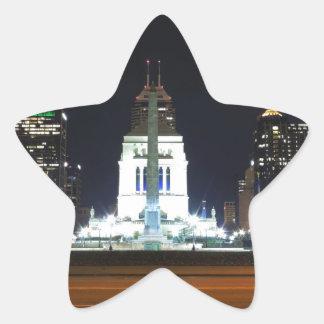 Indianapolis Skyline at Night Star Sticker