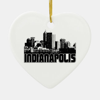 Indianapolis Skyline Double-Sided Heart Ceramic Christmas Ornament