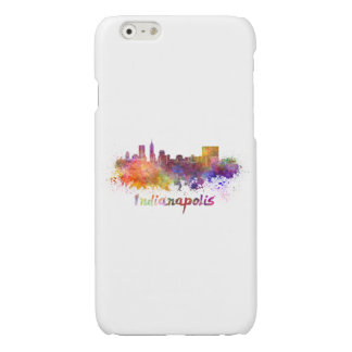 Indianapolis skyline in watercolor glossy iPhone 6 case