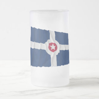 Indianapolis Waving Flag Frosted Glass Beer Mug