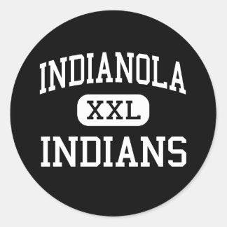 Indianola - indios - alto - Indianola Mississippi Pegatina Redonda
