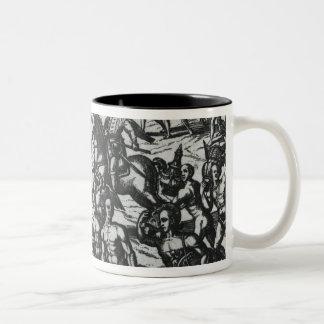 Indians bringing Balboa vases and gold objects Two-Tone Coffee Mug