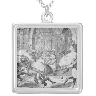Indians Celebrating the Chuno or Potato Silver Plated Necklace