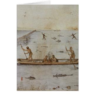 Indians Fishing Greeting Card