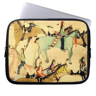 Indians Horses Primitive Folk Art Laptop Sleeve