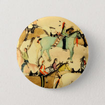 Indians Horses Western Americana Folk Art Drawing Pinback Button
