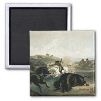 Indians Hunting the Bison plate 31 from Volume 2 Refrigerator Magnet