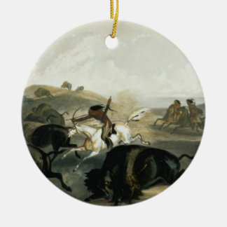 Indians Hunting the Bison, plate 31 from Volume 2 Christmas Tree Ornaments