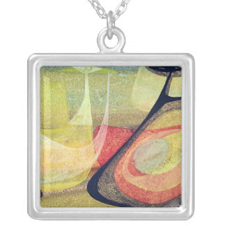 Indians in space #3 square pendant necklace