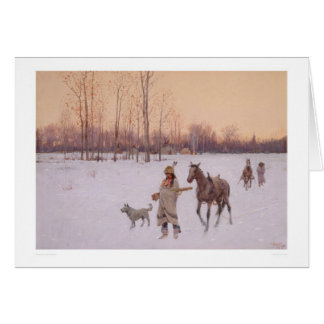 Indians in the Snow (0565A) Greeting Cards
