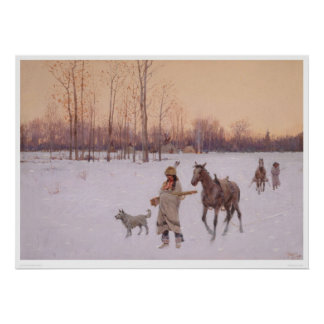 Indians in the Snow (0565A) Poster