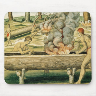 Indians Making a Dugout Canoe Mouse Pad