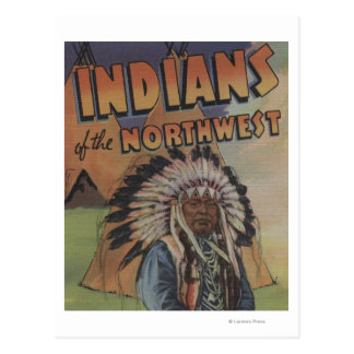 Indians of the Northwest - Indian Chief & Teepee Postcard