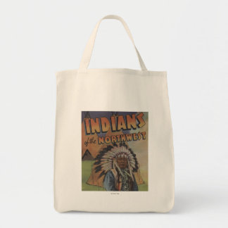 Indians of the Northwest - Indian Chief & Teepee Tote Bag