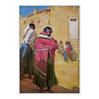 Indians Outside Taos Pueblo by Gerald Cassidy Posters