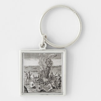 Indians praying around a fire, engraving keychain