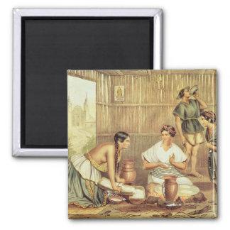 Indians Preparing Tortillas Magnet
